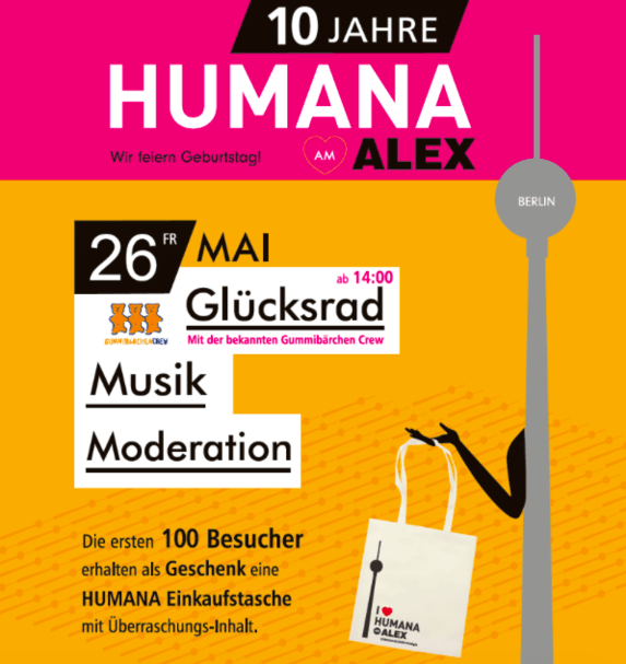 Shopping-Party Berlin. HUMANA Secondhand & Vintage am Alex feiert Geburtstag.