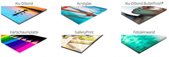 Auswahl an Wandbildern bei Saal-Digital