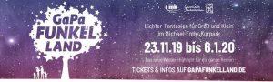 GaPa Funkelland vom 23. November 2019 bis 6. Januar 2020. Mehr Informationen zu Öffnungszeiten & Eintrittspreisen findest du hier.Funkelland Lichtspektakel.